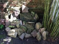 Purbeck stone/ stone walling/large boulders