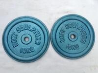6 x 10kg Body Sculpture Blue Standard Cast Iron Weights