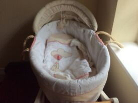 Moses basket and stand with matching cover and hood.