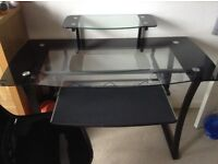 Black Office Glass Desk and Chair.