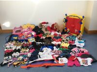 Large collection of Build a Bear outfits and accessories including two animals