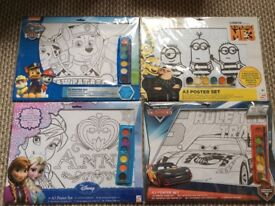 Car boot items 60 A3 colouring posters Frozen, Cars, Minions and Paw Patrol