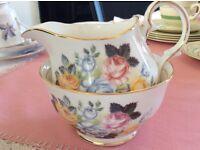 Duchess Vintage Bone China Pretty Floral Milk Jug and Sugar Bowl.