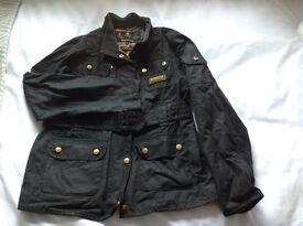 Barbour black belted girls wax coat