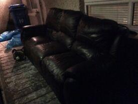 Brown leather 3seater sofa FREE FREE