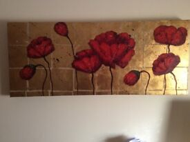 STUNNING RED/GOLD GENUINE CANVAS WALL ART