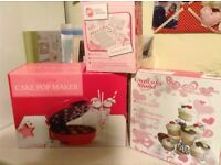 Cake pop make, cupcake stand and cake decorating utensils