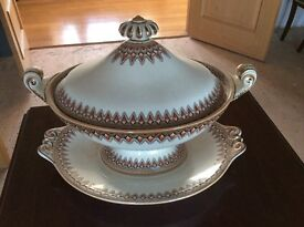 Antique decorative tureen with saucers,made by lance