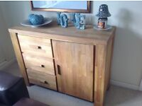 Next solid oak Sideboard and matching nest of tables