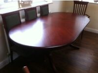 MAHOGANY DINING TABLE EXTENDABLE SEATS 8 £1 .00 + offers