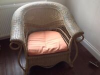 Roll Top Wicker Armchair - Beige, Turquoise and Orange Colours