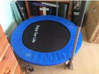 Trampoline with safety handle