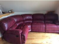 Red Corner Sofa with 3 recliners - Harvey's Furniture