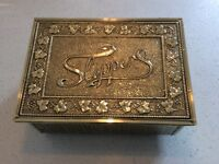 Antique brass and wood slipper box. Art nouvea design. Excellent condition.