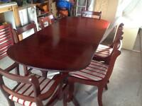 DINING TABLE & 6 CHAIRS (2 carvers) EXTENDABLE.