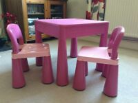 AMAZING PINK CHILDRENS MULII PURPOSE TABLE AND CHAIR SET