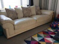 Leather 4 seater sofa Cream
