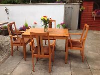 PINE TABLE WITH FOUR MATCHING QUALITY SCHREIBER CHAIRS -can deliver