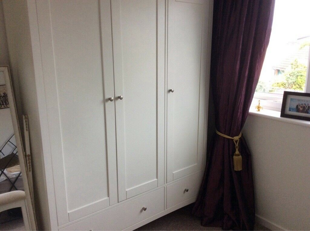 Reduced White Triple Wardrobe With Double Hanging Space