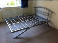 Double metallic grey bed frame