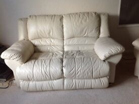 Cream leather 2 seater sofa and 2 x leather electric recliner chairs and foot stool