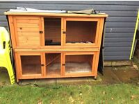 Rabbit hutch Two floors with metal run and accessories good condtion