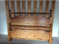 Vintage pine king size bed frame
