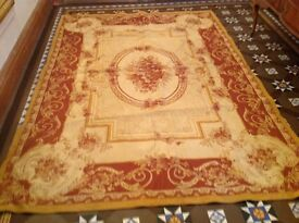 Gold and dark red Laura Ashley rug