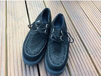 T.U.K. Shoes size 7 Black Suede Low Sole Creeper for £25.