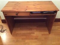 Pine desk good condition 1 drawer and a sliding keyboard shelf £25 buyer to collect