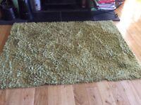 Green shaggy floor mat