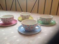 CATH KIDSTON PROVENCE ROSE &SPRAY FLOWERS CUPS AND SAUCERS