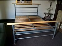 King size grey iron bed frame ( Free delivery see description)