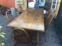 ERCOL CHAIRS X 8 AND TABLE