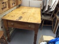Antique Pine Kitchen Table WithThree Chairs