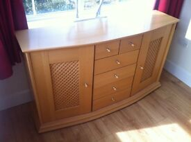 Beech sideboard - drawers cupboards