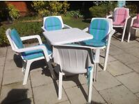 Patio set 6 chairs with cushions and table