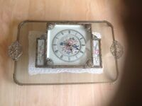 HAND MADE LACE IN BETWEEN GLASS,AND CLOCK TO MATCH ,A LOVELY WEDDING PRESENT FOR DRESSING TABLE