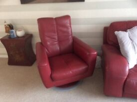 Red leather 3 seater sofa and arm chair and swivel chair