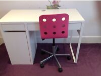 Girls IKEA desk with pink office chair good condition