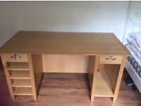 Modern oak desk and matching filling cabinet with office chair, in good condition
