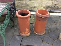 One red old chimney pot for sale, ideal for garden decoration.