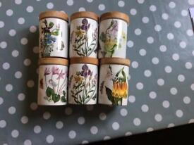 6 Portmeirion Spice Jars