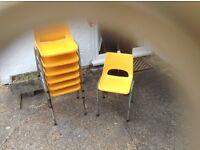 Yellow plastic children s stacking chairs