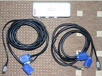 Sitecom 4 port KVM Switch KV-011 V2 UK - with cables