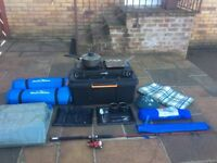Camp stove, two man tent, untensils, sleeping mats, tarp and fishing rod