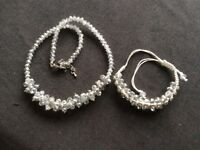 Silver Coloured Cluster Necklace & Earring Set