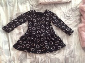 Girls GAP coat 6-12m, NEXT fur gillet 6-9m, MK dress 9-12m