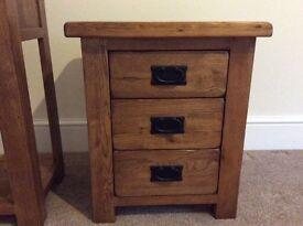 Pair of Solid oak 3 drawer Bedside Tables