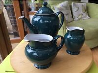 Denby tea pot with two jugs